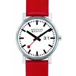 montre-mondaine-evo-gents-blanche-big-date-bracelet-rouge-40mm