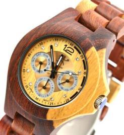 La montre en bois précieux SJ001DUO by essenciel – disponible sur l'e-boutique Dawanda