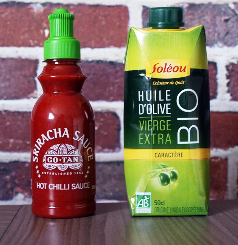 sriracha et huile olive soleou