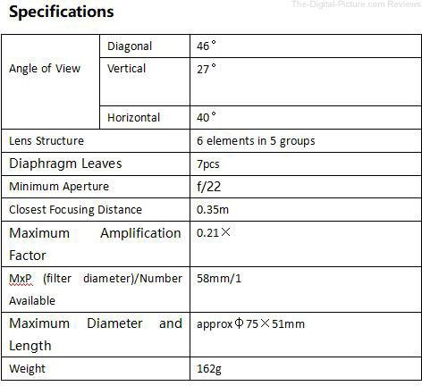 YONGNUO YN50mm F1.8 II Lens Specifications