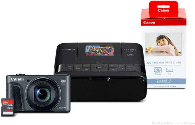 PowerShot SX730 HS Black & Selphy CP1200 Black Bundle