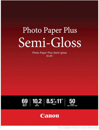 "Canon SG-201 Photo Paper Plus Semi-Gloss (8.5 x 11"", 50 Sheets)"
