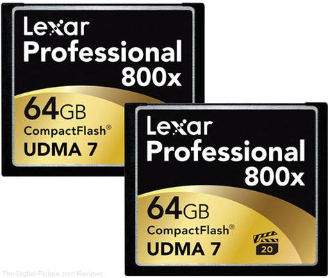 Lexar 64GB CompactFlash Memory Card Professional 800x UDMA 7 (2-Pack) - $  74.24 Shipped (Reg. $  97.24)