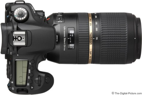 Tamron 70-300mm f/4-5.6 Di VC USD Lens on Canon EOS 60D - Top View