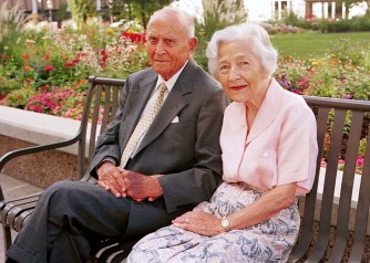 Elder David B. Haight and his wife, Sister Ruby Haight, are photographed in September 2000, just before their 70th wedding anniversary.