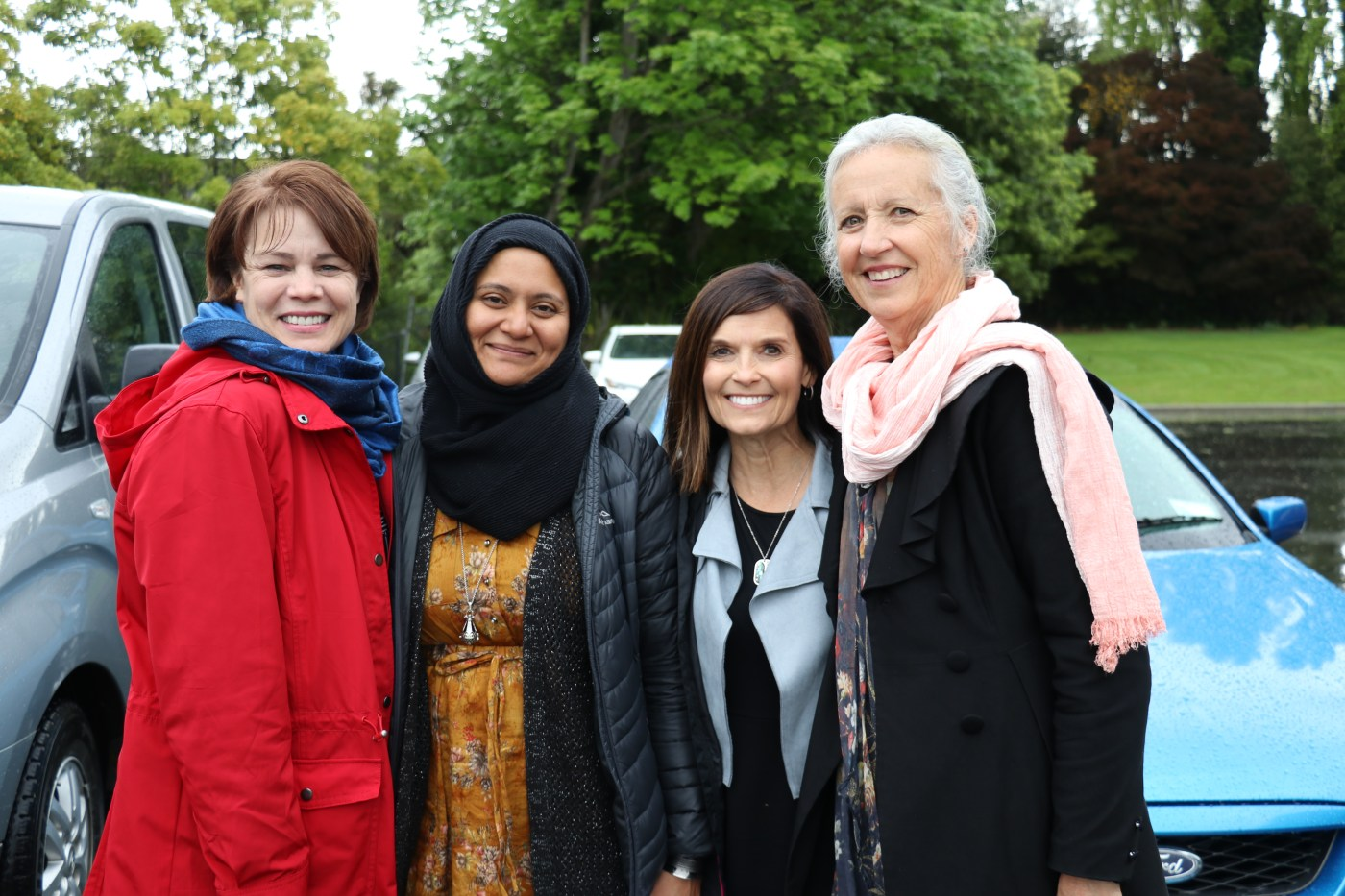 From left, Sister Sharon Eubank, Dr. Hafsa Ahmed, Sister Becky Craven and Sister Noeline Odgers pose for a photo together after touring through the Al Noor Mosque in Christchurch, New Zealand, in October 2019.