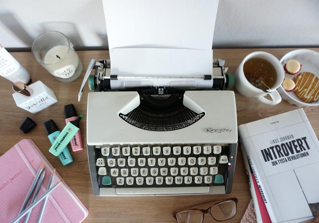Flatlay skrivmaskin