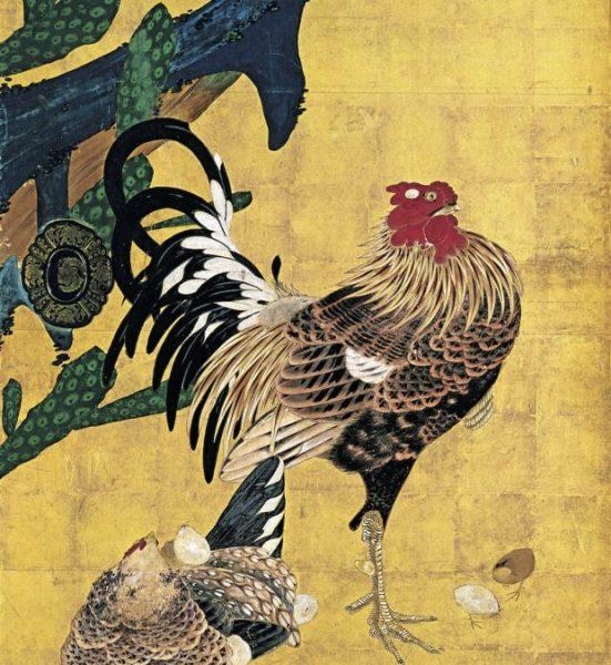 仙人掌群鶏図障壁画