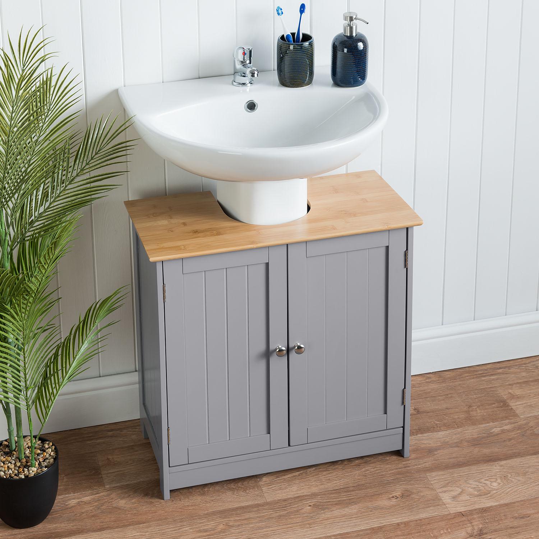 Bathroom Under Sink Cabinet Grey Bamboo Wooden Storage Cupboard Unit Christow Ebay