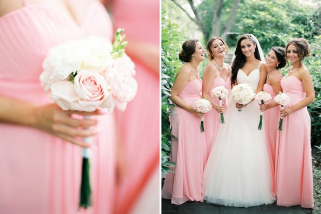 The bridesmaids in pink dresses