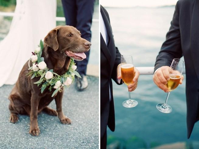 hund i blomsterhalsband på bröllop Erika gerdemark