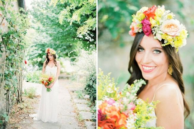 bohemisk brud i färgglad floralcrown