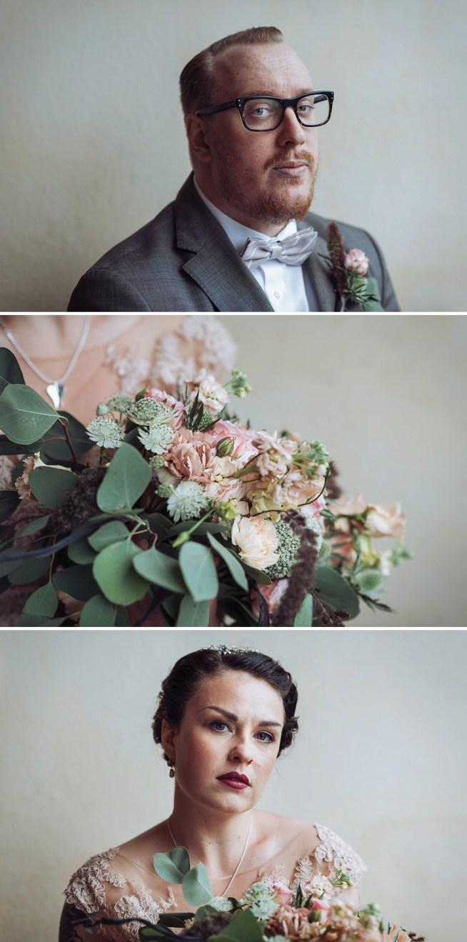 vintageinspirerat bröllopsporträtt av Heléne Grynfarb