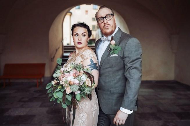 vintageinspirerat bröllopsporträtt av bröllopsfotograf Heléne Grynfarb