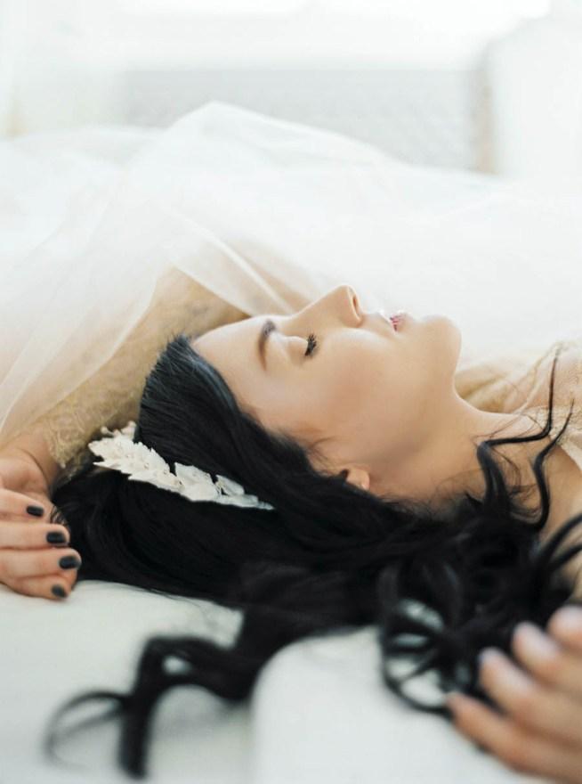 The Wild Rose accessories clay leaf tiara in black hair