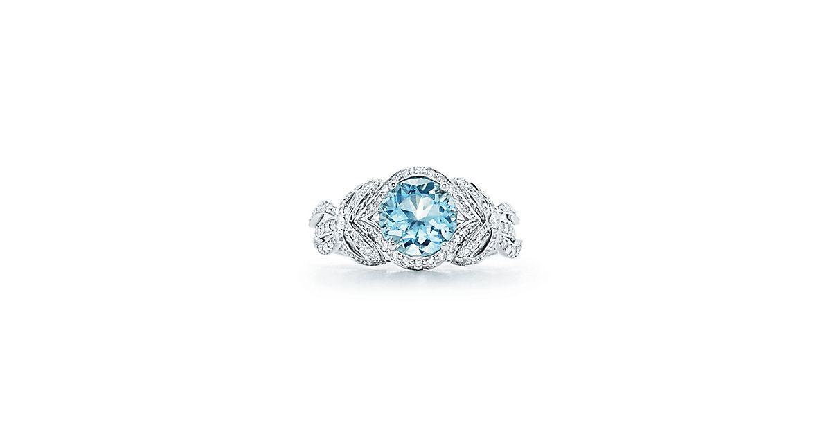 Tiffany Bow Ribbon Ring With Round Brilliant Diamonds And