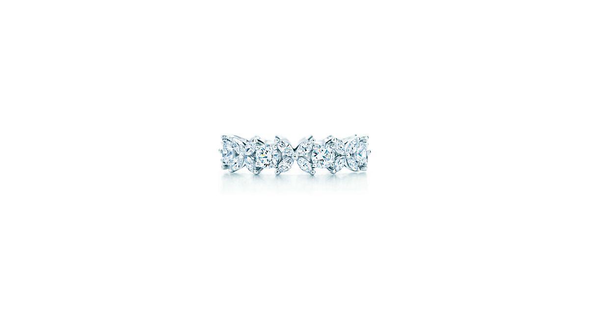 Tiffany Victoria Platinum And Diamond Alternating Ring