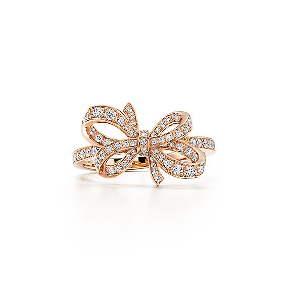 Tiffany Bow Ribbon Ring In 18k Rose Gold With Round