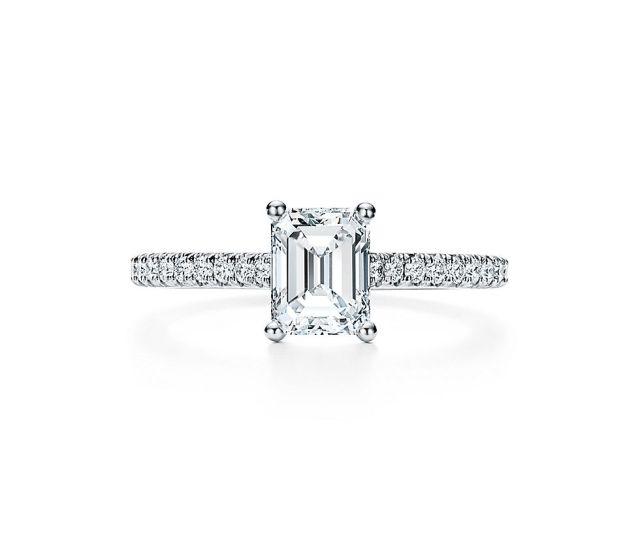 Tiffany Novo Emerald Cut With Pave Set Diamond Band Engagement Rings Tiffany Co