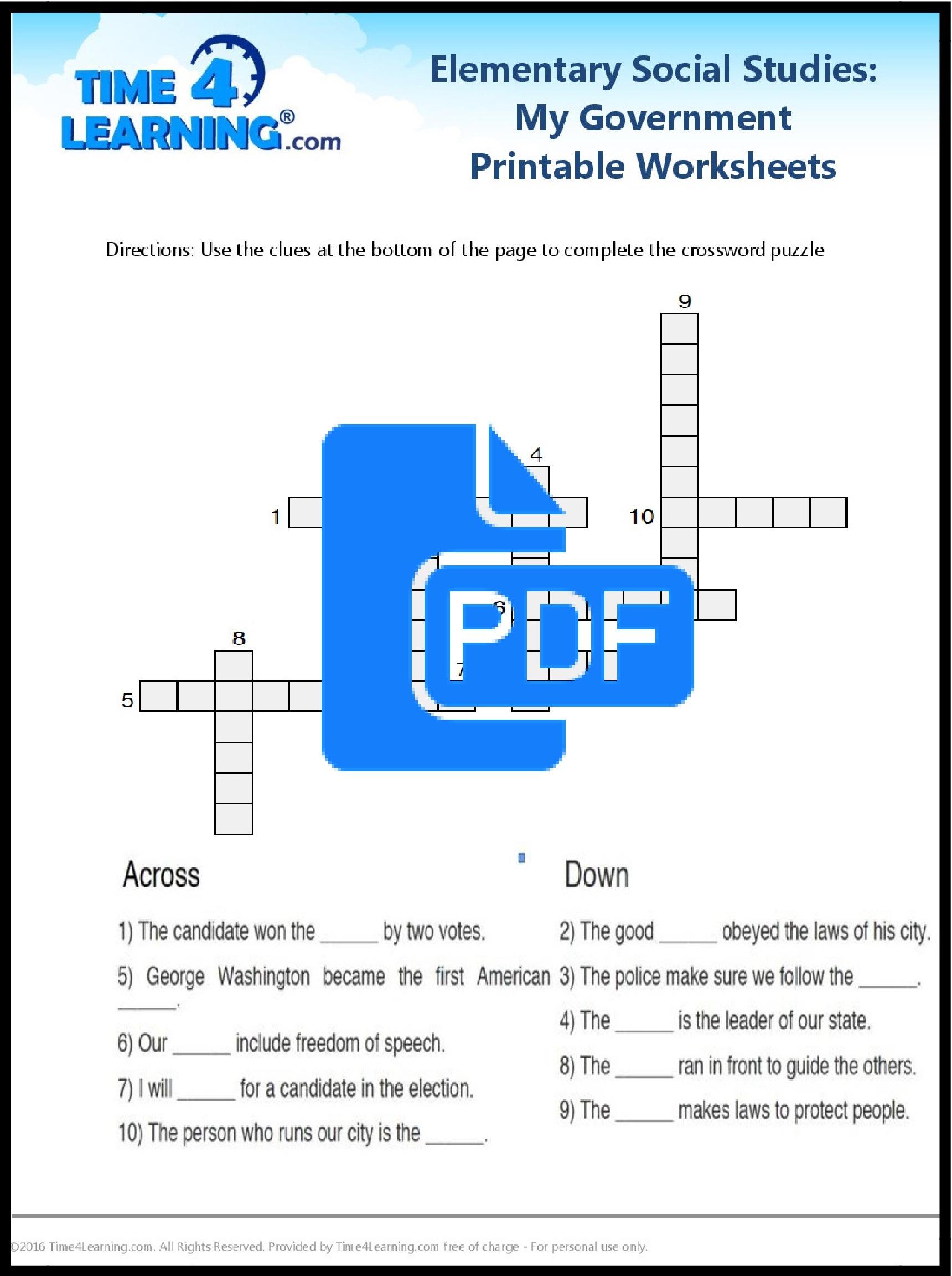 Free Printable Elementary Social Stu S Worksheet