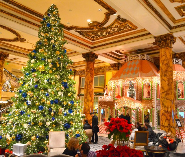 Christmas Tree At Giant Gingerbread House At Fairmont Hotel