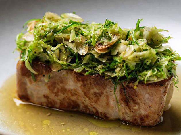 Roast pork loin with potato gratin at the Tilbury Hotel