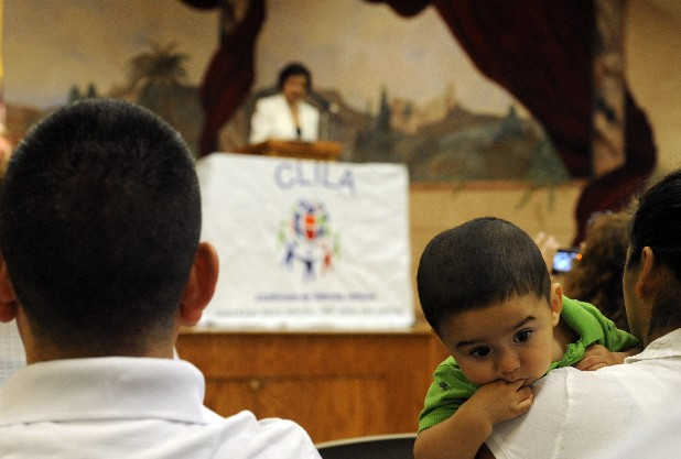 America Gruner, president of the Coalition of Latino Leaders, speaks regarding road checks and the new Georgia immigration law during a meeting at St. Joseph Catholic Church on Wednesday in Dalton, Ga