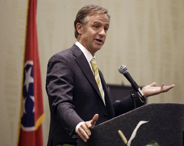In this Feb. 7, 2013 photo, Tennessee Gov. Bill Haslam speaks to a group in Nashville, Tenn. Haslam is one of the last Republican governors to decide whether to expand Medicaid, partly because of the state's experience as a pioneer in expanding Medicaid to cover the uninsured back in the 1990s. Federal funding for that expansion was cut after the White House and governorship changed hands.