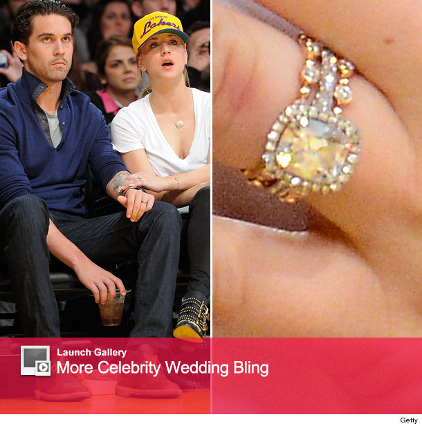 Kaley Cuoco Debuts Massive Wedding Ring at Lakers Game   toofab com 0106 kaley launch