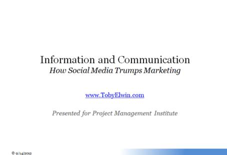 Toby Elwin, community persona, project management institute, social media, marketing, presentation