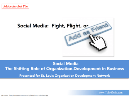 Social Media, Fight Flight or Friend, Shifting Role of Social Media in Business, toby elwin, st louis, organization development, Shifting Role, organization development, Business, adobe