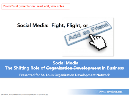 .ppt, power, point, Social Media, Fight Flight or Friend, Shifting Role of Social Media in Business, toby elwin, st louis, organization development, Shifting Role, organization development, Business