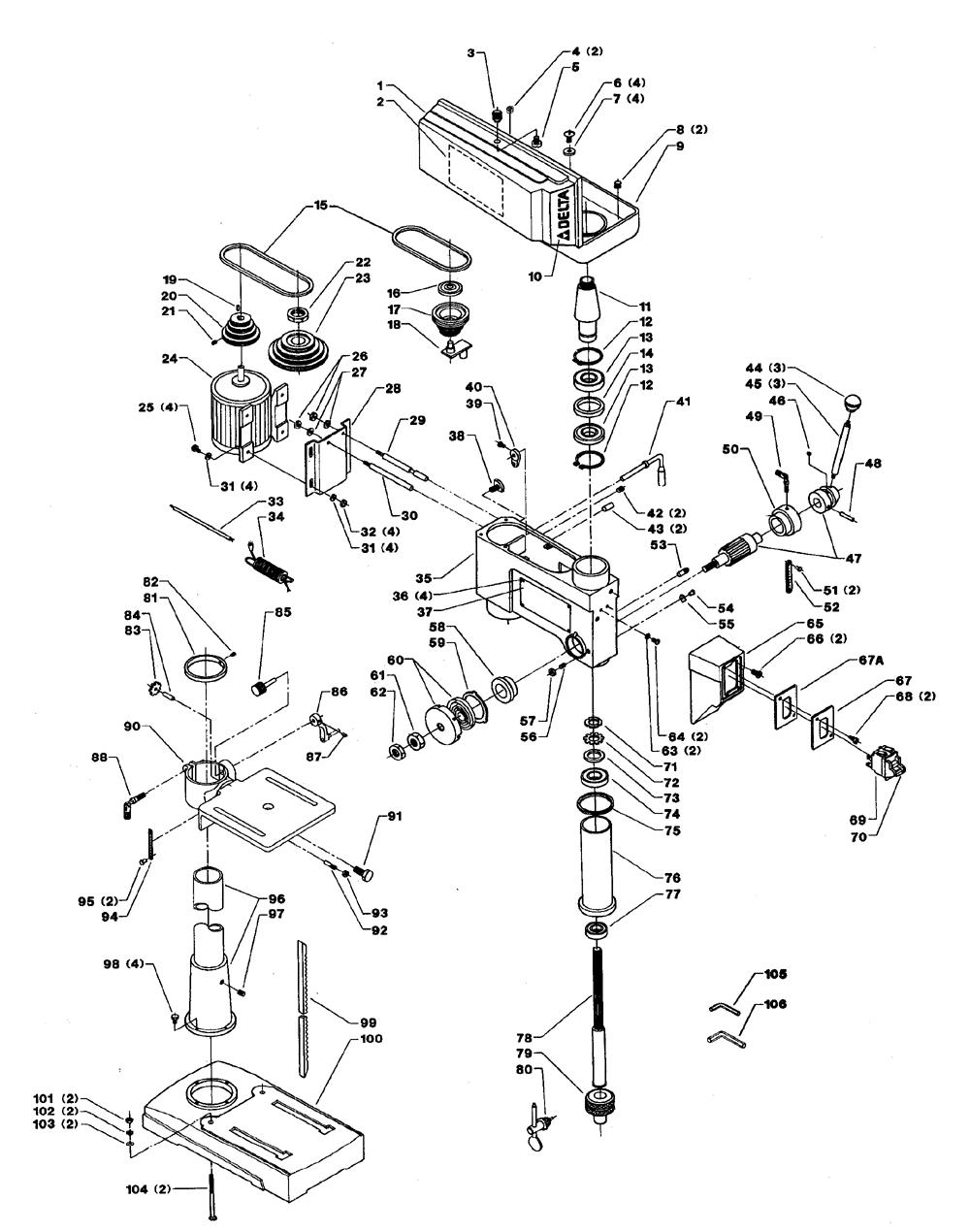 Delta 14 070 type 1 parts schematic