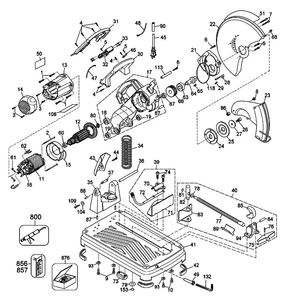 Buy dewalt dw871 type 1 14 inch 5 3 hp chop replacement tool parts