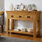 Farmhouse Oak 3 Drawer Large Console Table Hallway Storage Fully Assembled