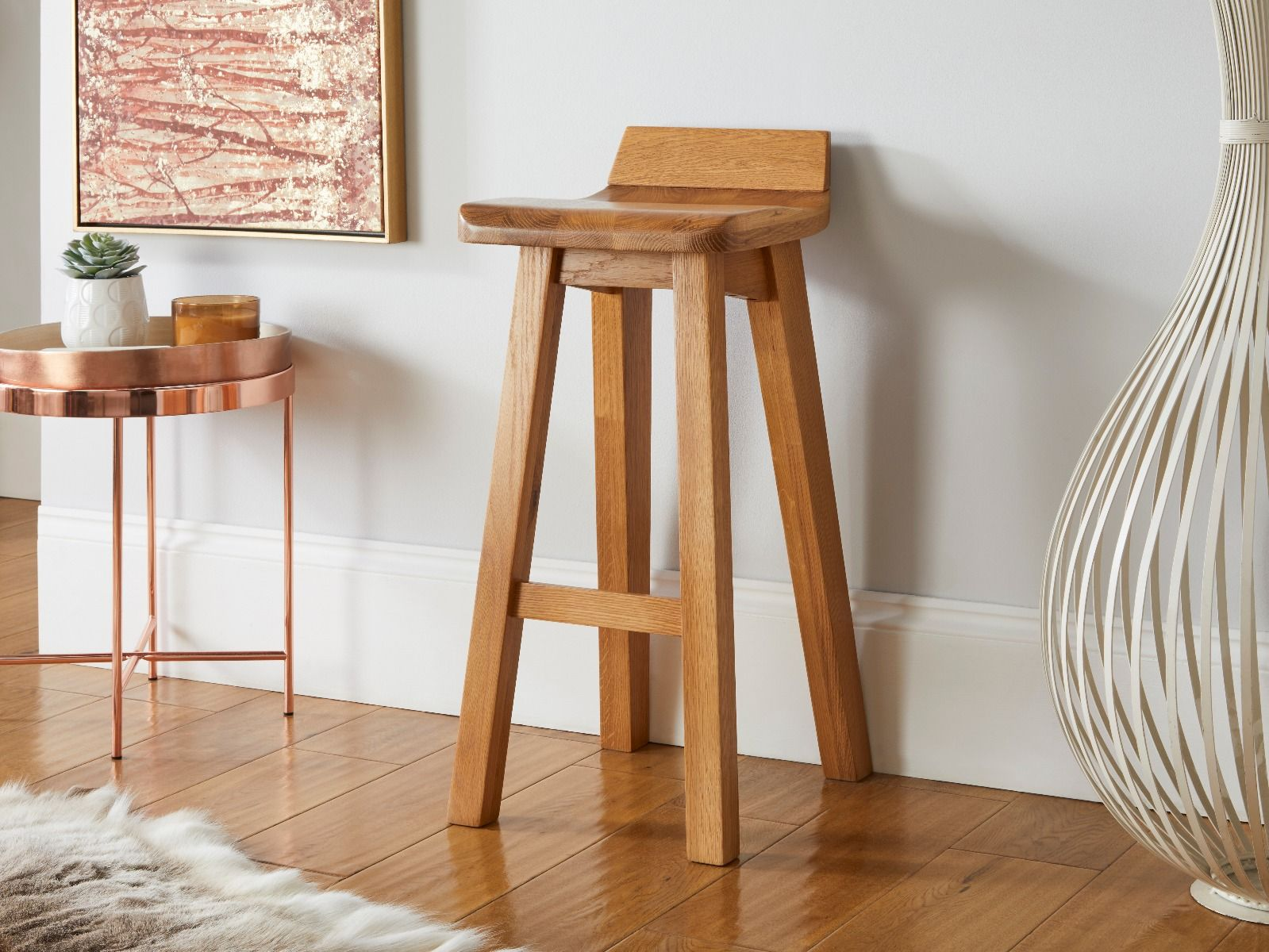 Solid Oak Contemporary Bar Stool Wave Free Delivery Top Furniture