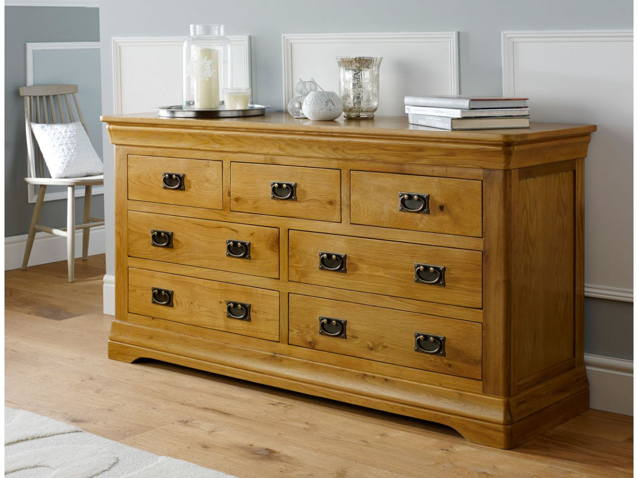 farmhouse country oak large 3 over 4 chest of drawers on country farmhouse furniture id=97129