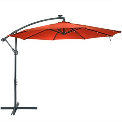 sunnydaze decor 10 ft steel offset solar led patio umbrella with cantilever 1 9 in x 99 in 10 5 ft jlp 200