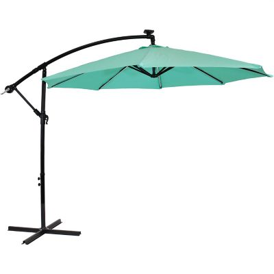 sunnydaze decor offset patio umbrella with solar led lights rul