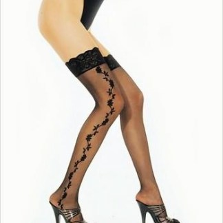 Plus Size Sheer Lace Top Thigh High Stocking with Side Lace Trim