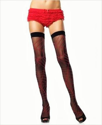 Sheer Thigh High With Spiderweb Design