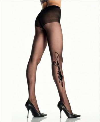 Sheer Pantyhose with Tiger Tattoo
