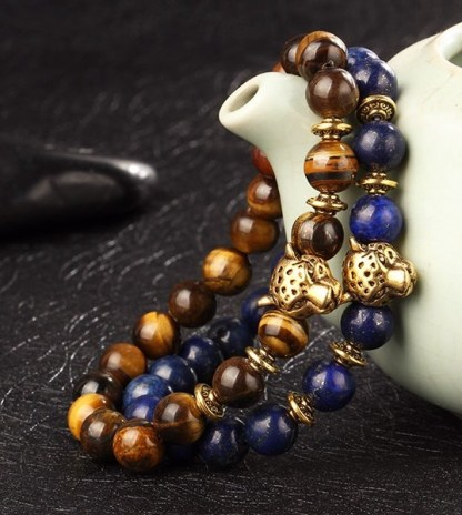 Gold Plated Panther Head Bead Bracelet
