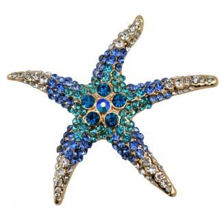 Rhinestone Starfish Brooches