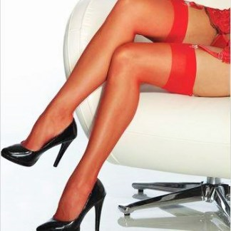 Red Sheer Thigh High Stockings