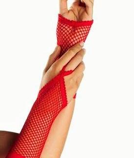 Fishnet Glove Red