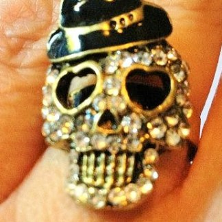 Skull With Hat Ring