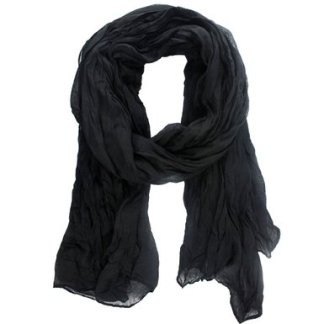 Cotton and Linen Crinkle Long Scarf Black