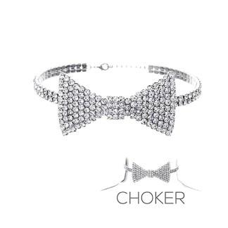Luxury Rhinestone Bow Tie Necklace