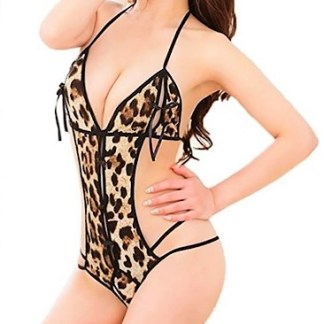 Sexy Backless Teddy with Leo Print